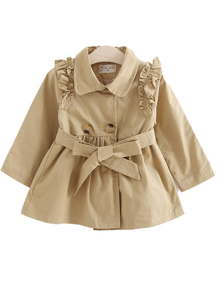 Girls Beige Buckle Mac with Shoulder Ruffles - Stylemykid.com