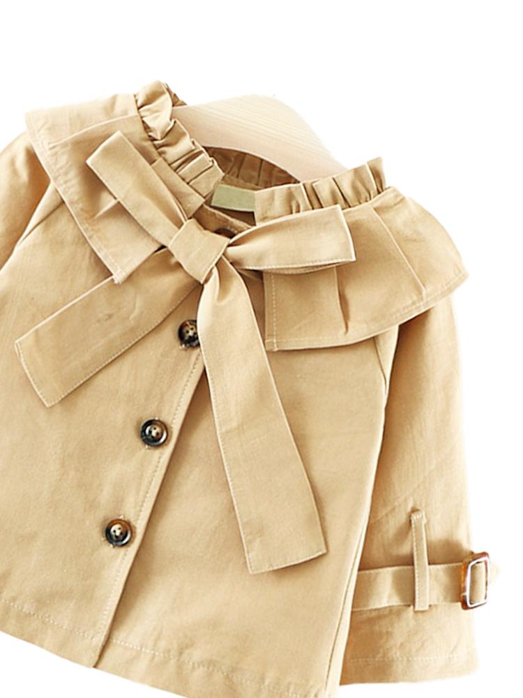 Beige Buckle & Bow Girls Mac with Frill Collar - 1 to 2 years - Stylemykid.com