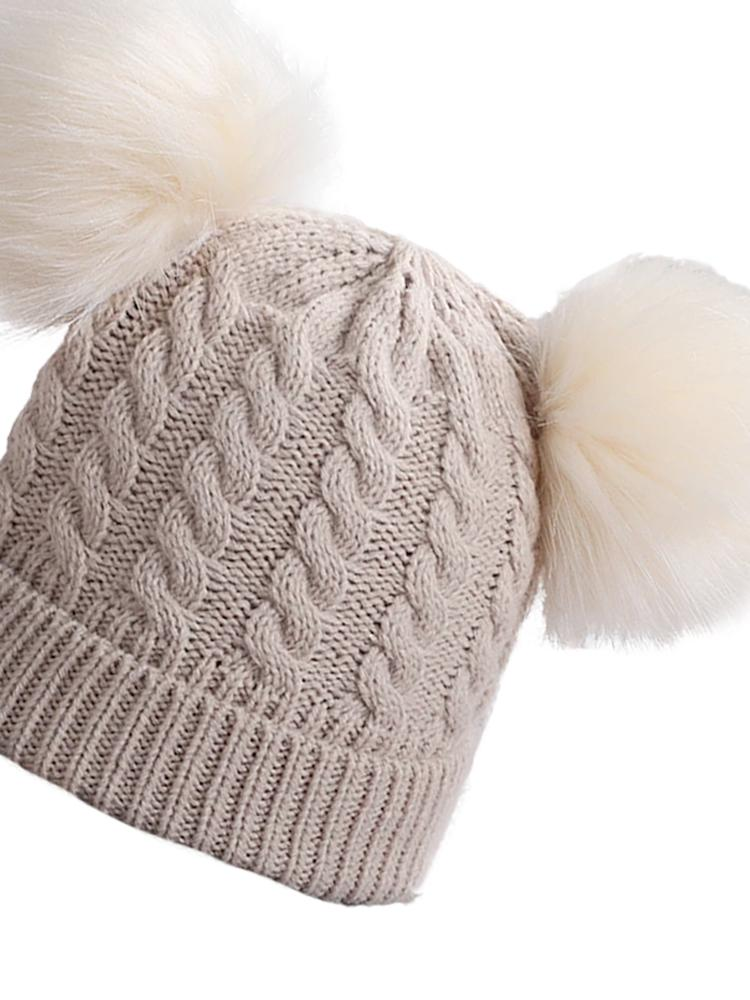 Latte Beige Double Bobble Woollen Pom Pom Kids Hat - 0-3 Years - Stylemykid.com