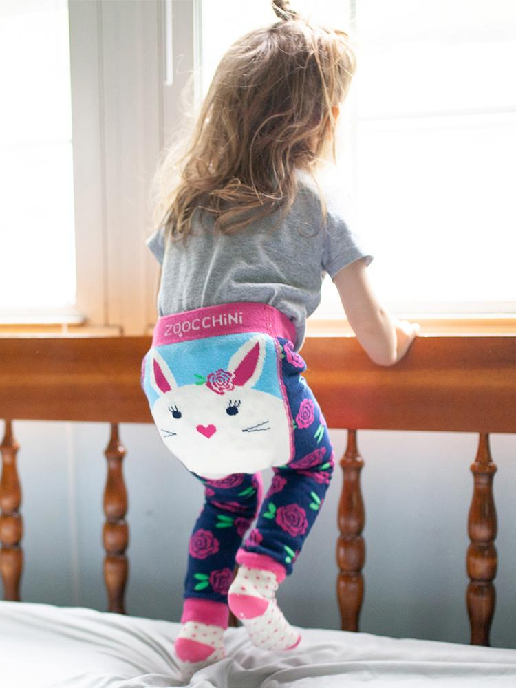 Zoocchini - Baby Leggings & Socks Set - Grip+Easy™ Comfort Crawlers - Bella The Bunny - Stylemykid.com