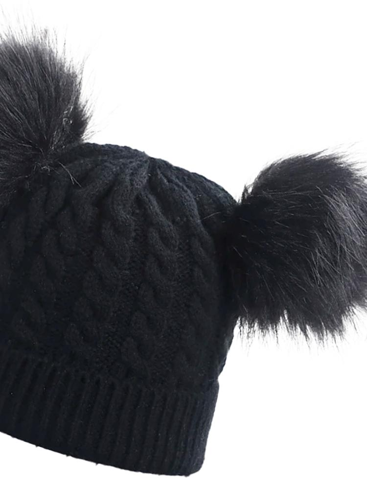 Ink Black Double Bobble Woollen Pom Pom Kids Hat - 0-3 years - Stylemykid.com