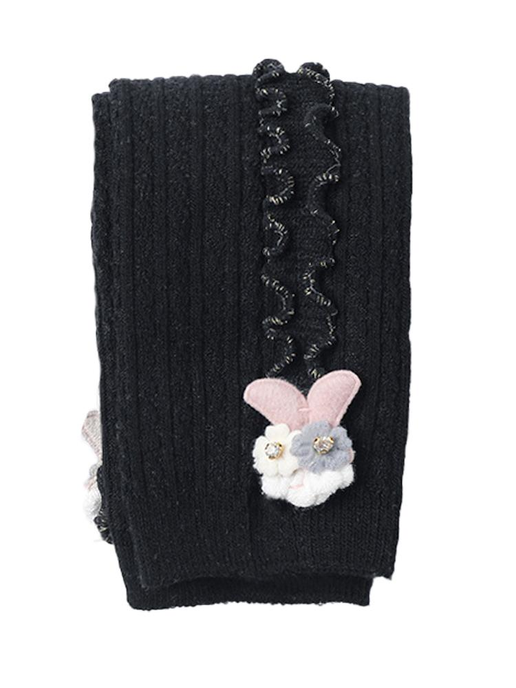Black Flower Frills Bunny Footless Girls Tights/ Leggings - Stylemykid.com