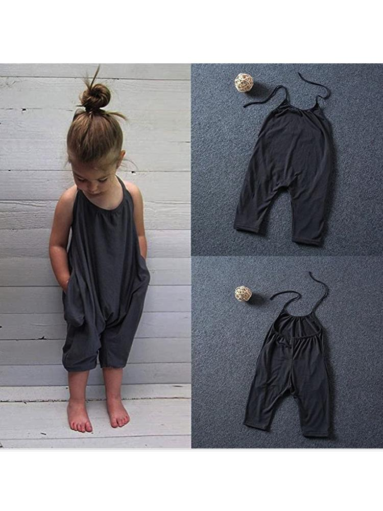 Black Halterneck Girls Sleeveless Playsuit with Pockets - Stylemykid.com