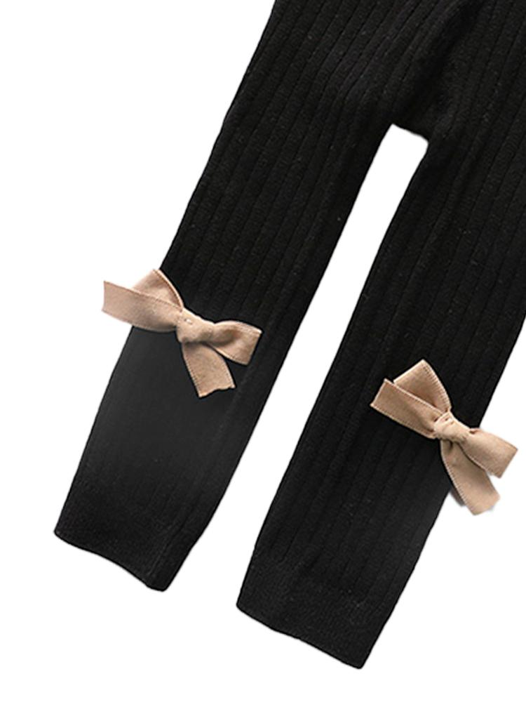 Black Ribbon Bow Ribbed Footless Girls Tights/ Leggings - Stylemykid.com