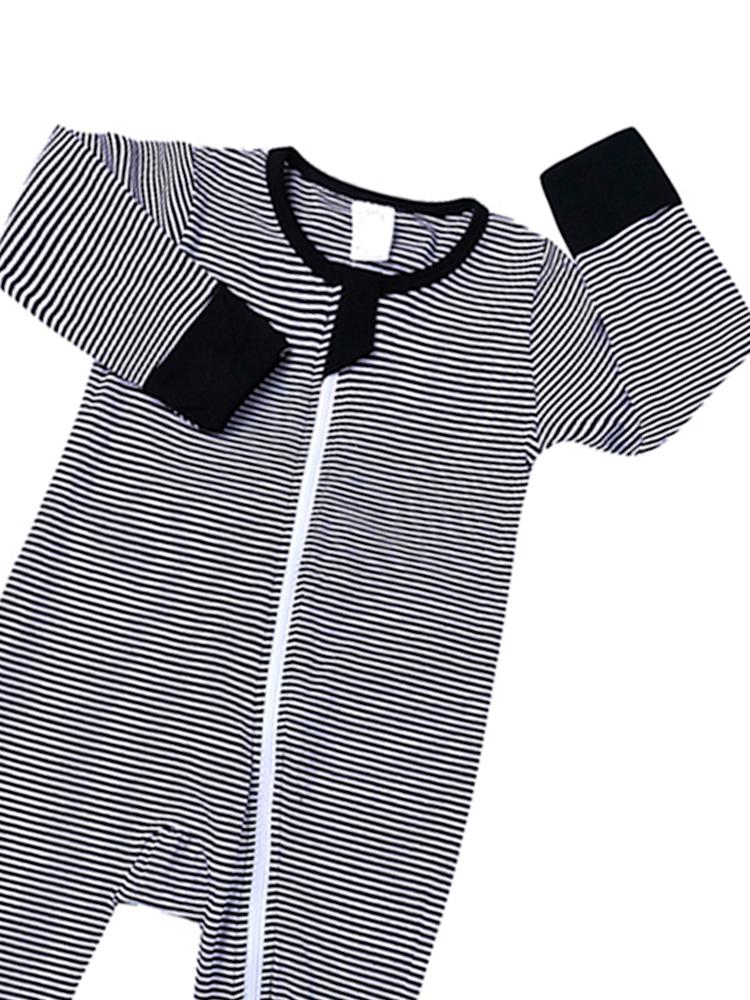 Black and White Monochrome Stripes Baby Zip Sleepsuit with Hand & Feet Cuffs - NEW DESIGN - Stylemykid.com