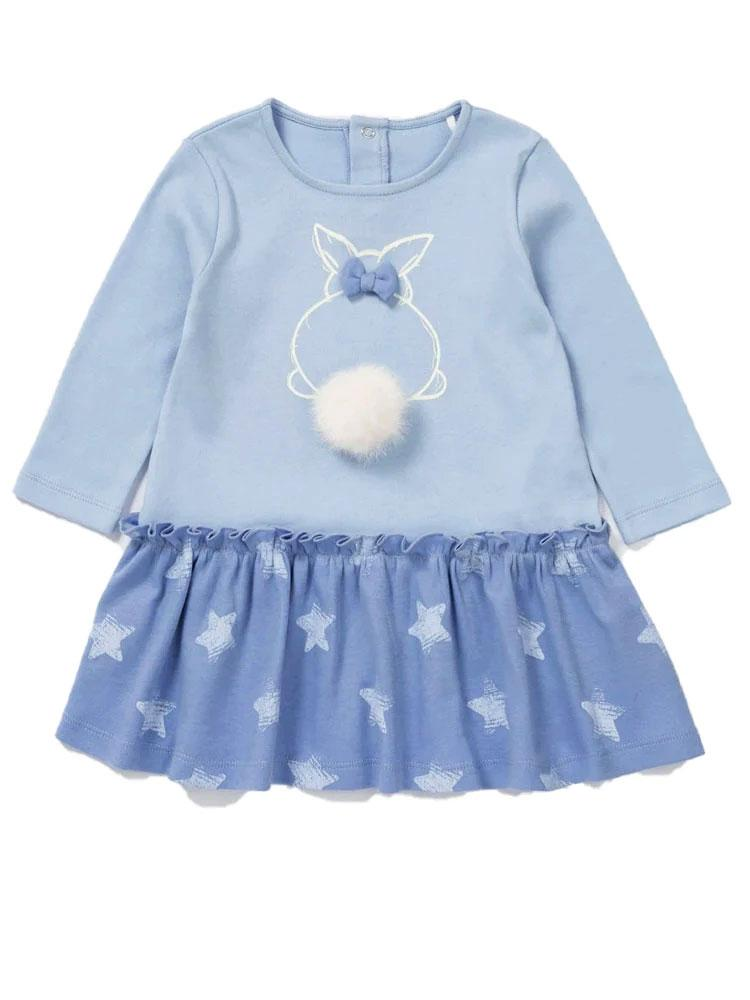 Blue Bunny Bobble - Blue Girls Dress with Super Cute Bunny Design - Stylemykid.com