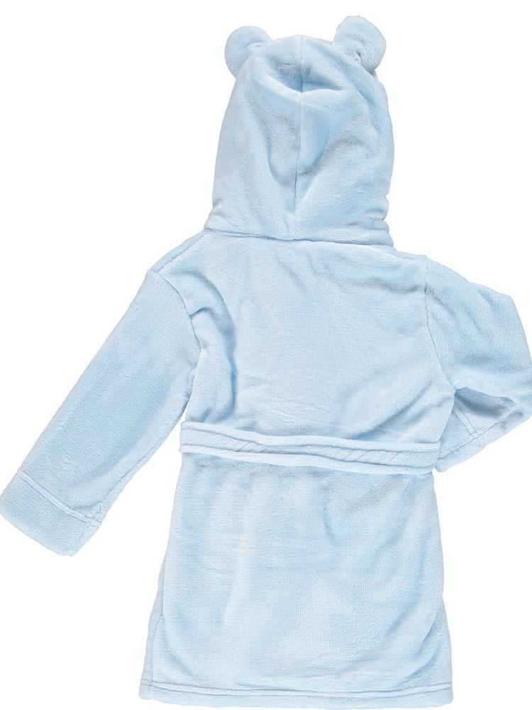 Blue Teddy Bear Ears Childs Hooded Dressing Gown - 6 Months to 2 Years - Stylemykid.com