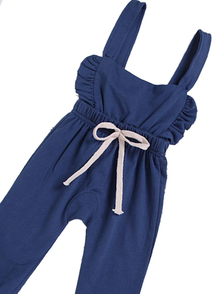 Blue Frill & Shoelace Tie Dungarees Girls Playsuit - Stylemykid.com