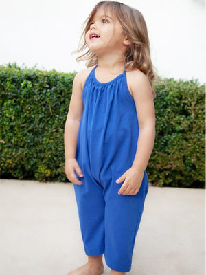 Deep Blue Halterneck Girls Sleeveless Playsuit with Pockets - Stylemykid.com