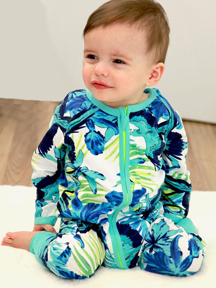 Blue Jungle Zip Sleepsuit with Hand & Feet Cuffs - Stylemykid.com