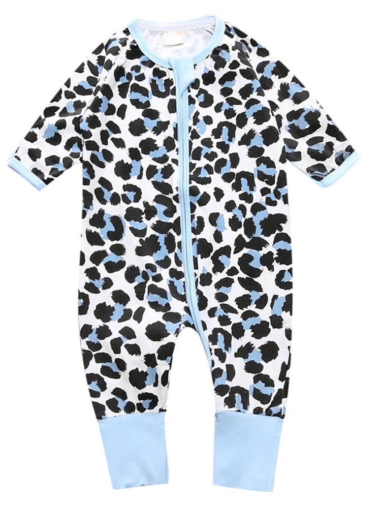 Blue Leopard - Zippy Baby Sleepsuit with Turnover Feet Cuffs - Stylemykid.com