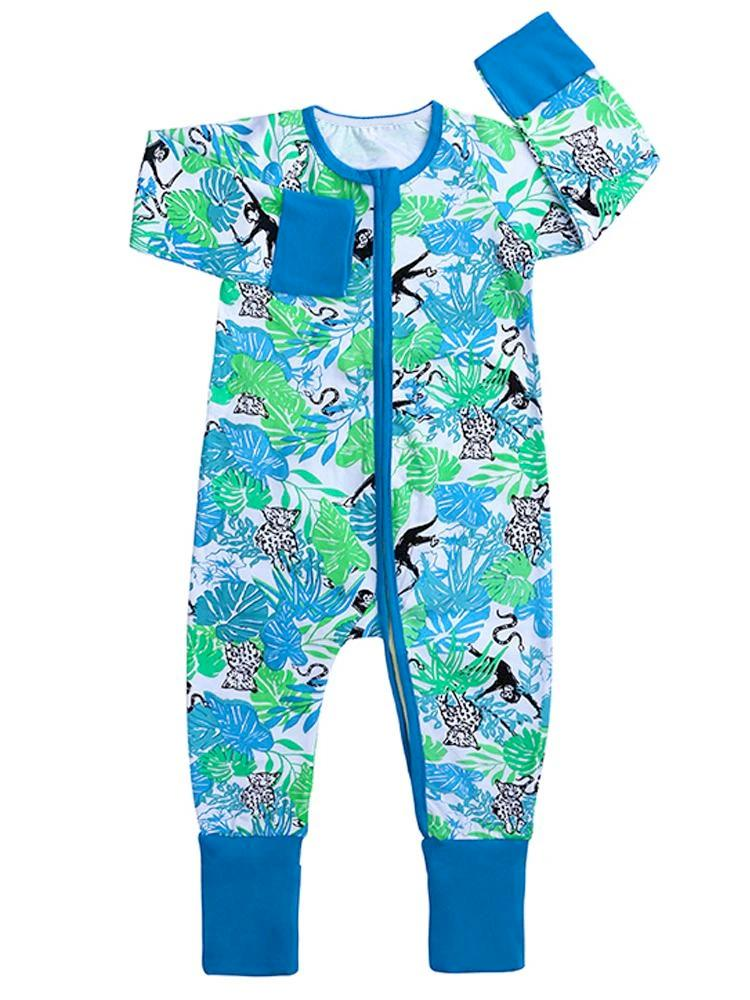 Blue Monkey and Friends - Blue Baby Zip Sleepsuit with Hand & Feet Cuffs - Stylemykid.com