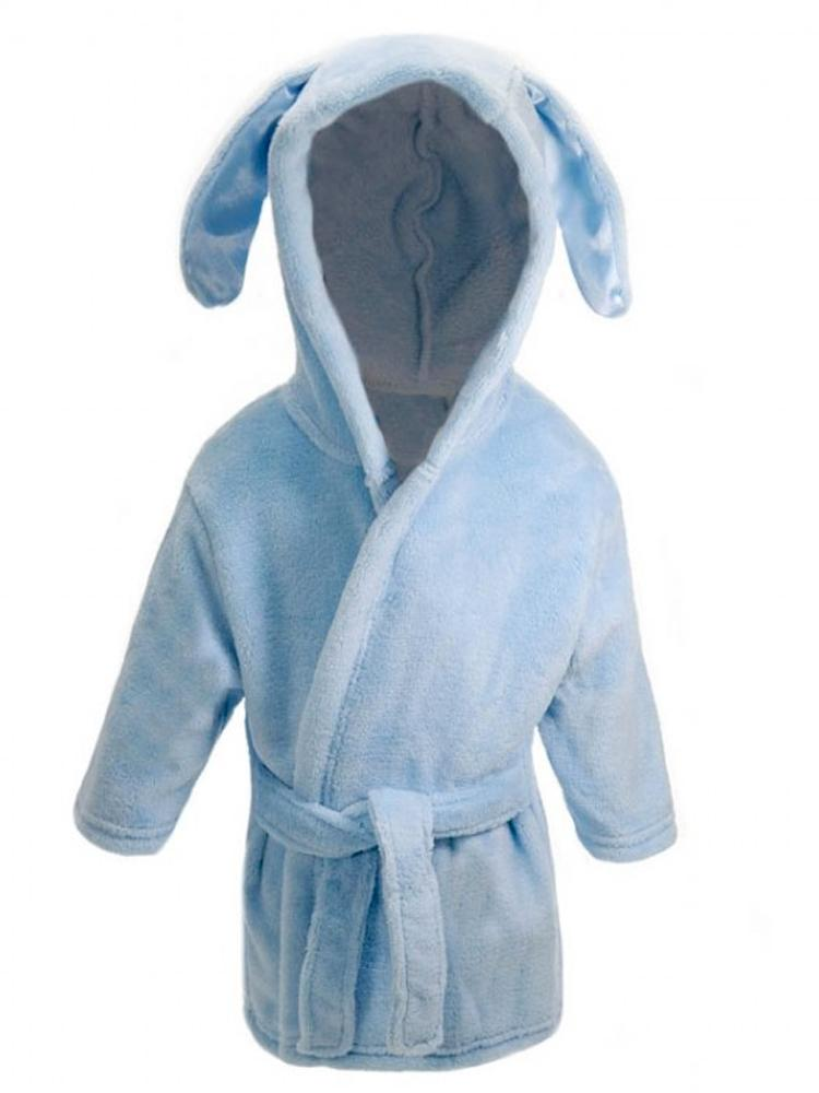 Blue Bunny Ears Childrens Hooded Dressing Gown - 6 Months to 18 Months - Stylemykid.com