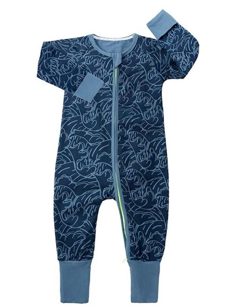 Blue Waves Zip Sleepsuit with Hand and Feet Cuffs - Stylemykid.com