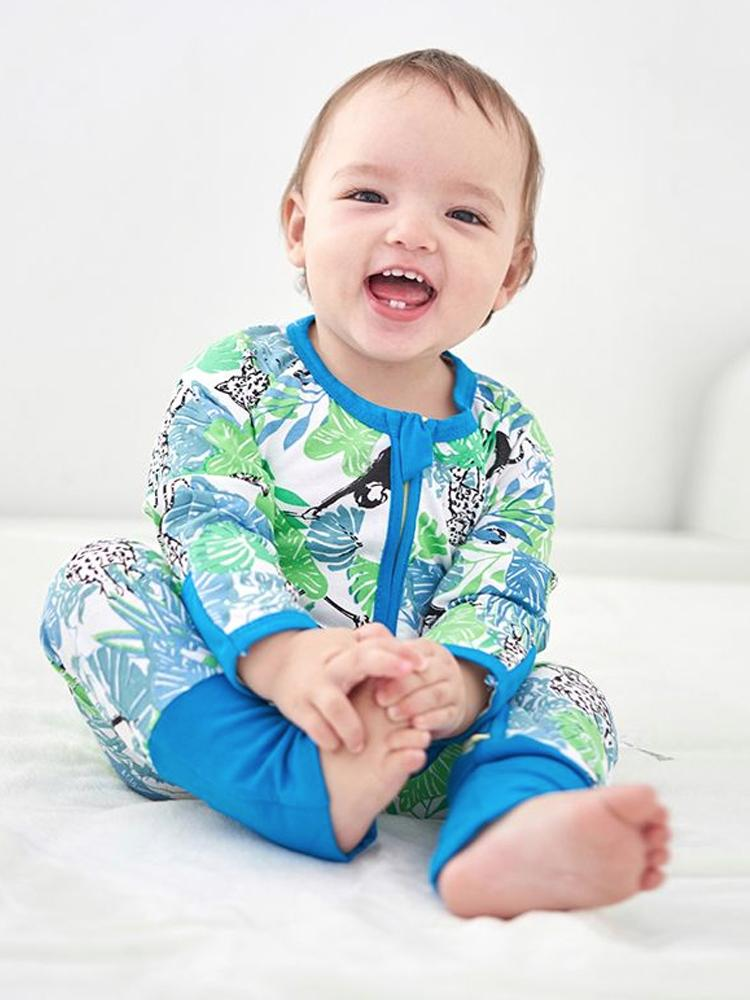 Blue Monkey and Friends - Blue Zippy Baby Sleepsuit with Hand & Feet Cuffs