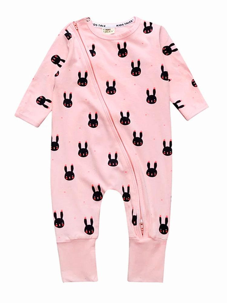 Blush Bunny Pink Zipped Onesie for Babies - Stylemykid.com