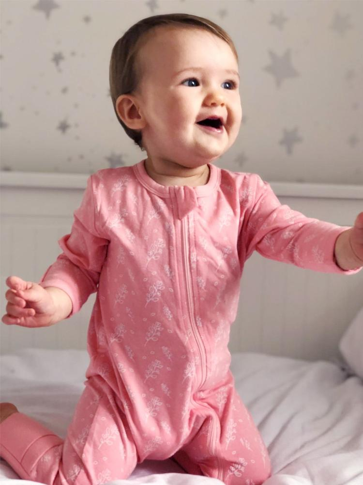 Blush Heather Zippy Baby Sleepsuit with Hand & Feet Cuffs - Stylemykid.com