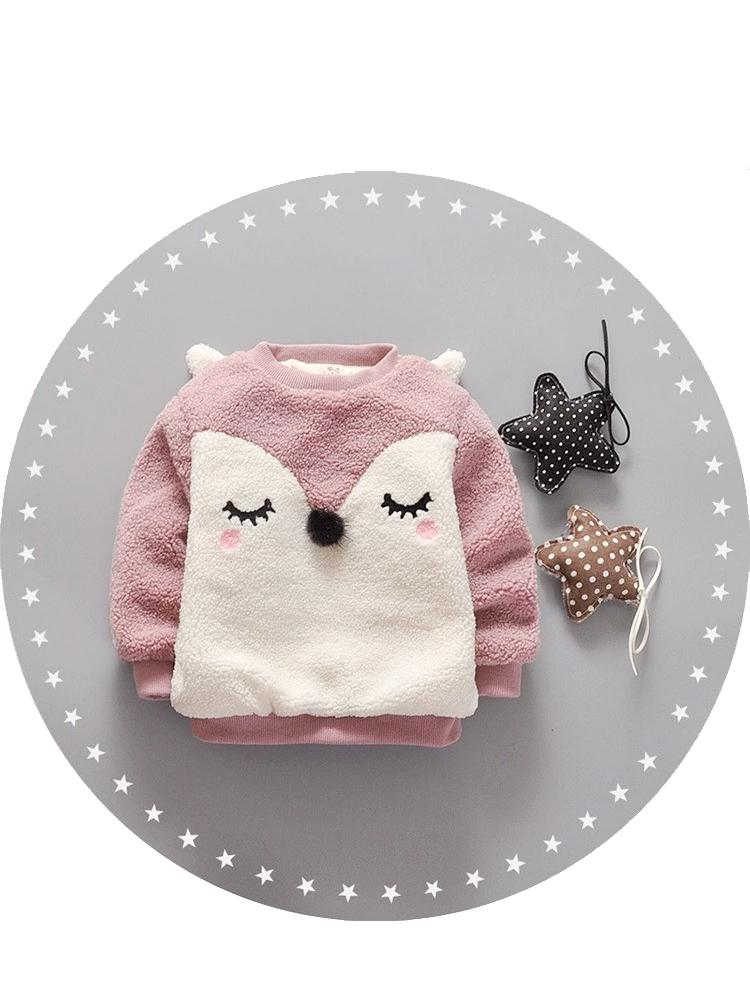 Blushing Fox - Pink Fluffy Fleece Jumper with Fox Face Design - Stylemykid.com