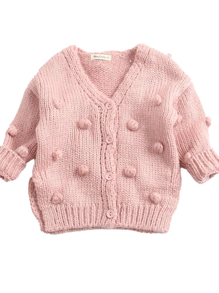 Bobble Knit - Girls Pink Organic Knitted Cardigan - Stylemykid.com