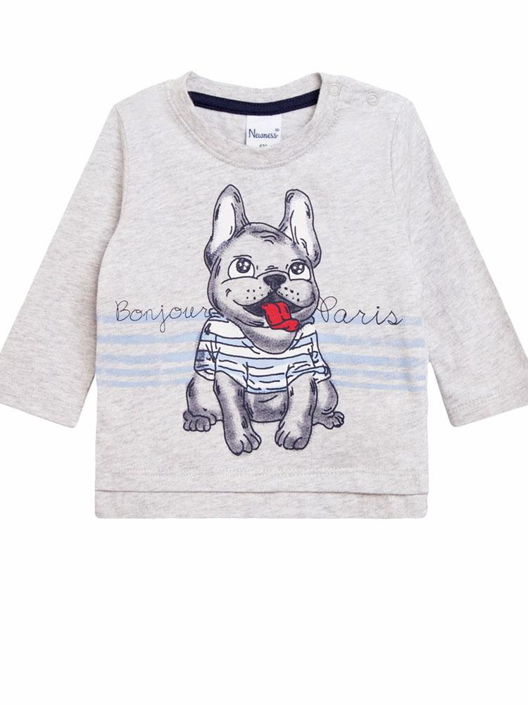 Bonjour Frenchie Bulldog - Light Grey Long Sleeve Top with Bulldog Design - Unisex 0 to 24 months - Stylemykid.com