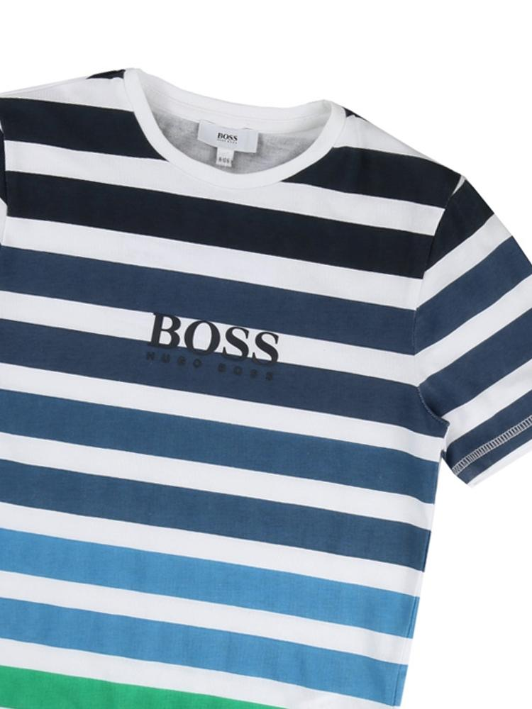 HUGO BOSS - Boys Blue and Green 100% Cotton Striped 100% Cotton T-SHIRT - Stylemykid.com