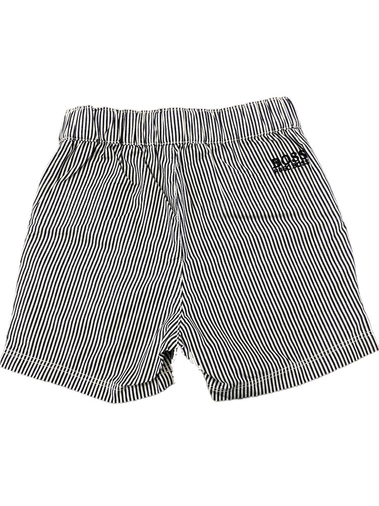 HUGO BOSS - Elasticated White and Blue Striped 100% Cotton Baby Shorts - Stylemykid.com
