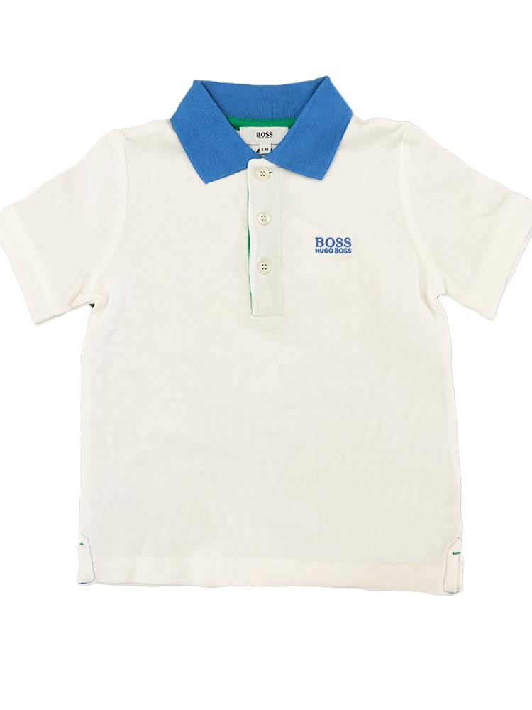 HUGO BOSS - Boys White Polo Shirt with Blue and Green Collar - Stylemykid.com