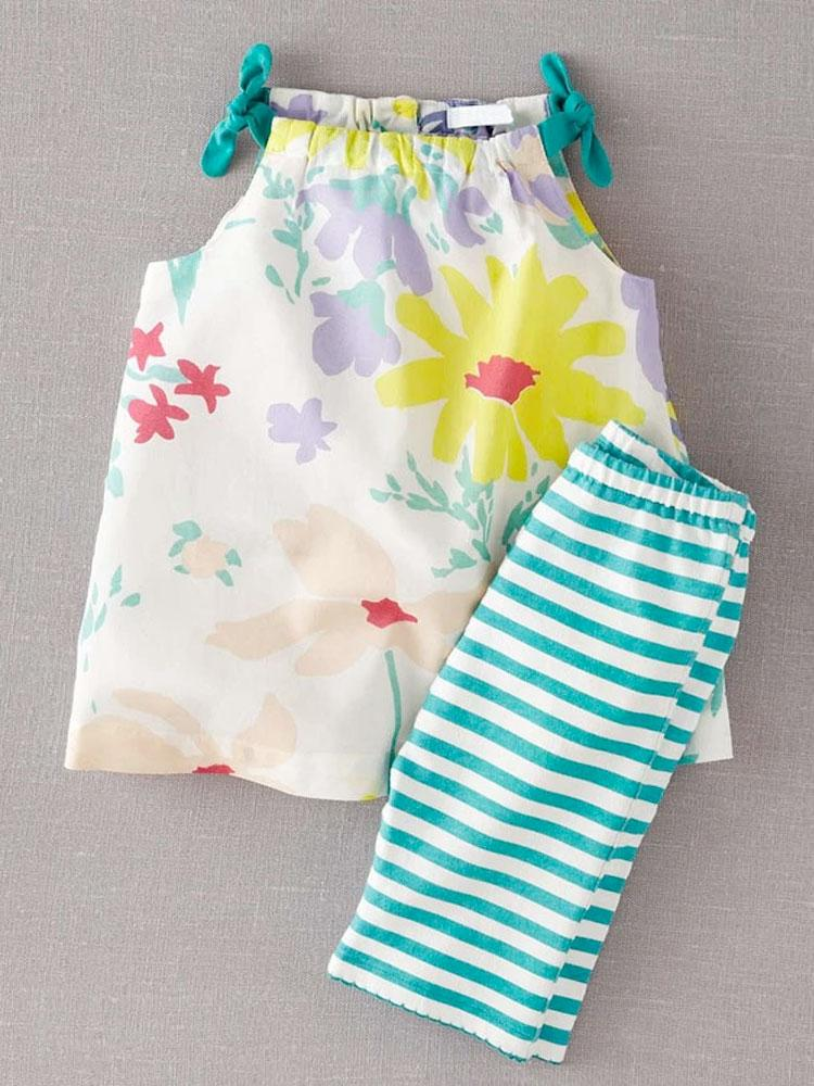 Bouquet Bows & Stripes - Girls Tie Shoulders Top and 3/4 Leggings - Stylemykid.com