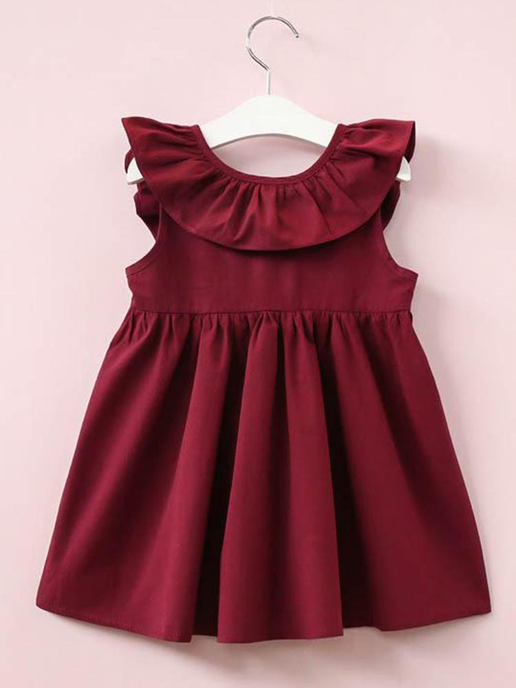 Little Girls Dark Red Wine Bow Back Party Dress - Stylemykid.com
