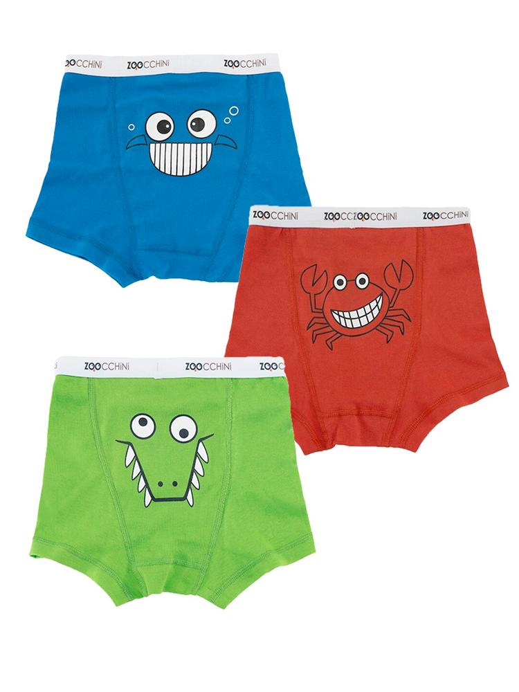 Zoocchini - Boys Organic Cotton Boxer Shorts - Chompy Chompers - 3 Pack Crab/ Croc/ Fish - Stylemykid.com