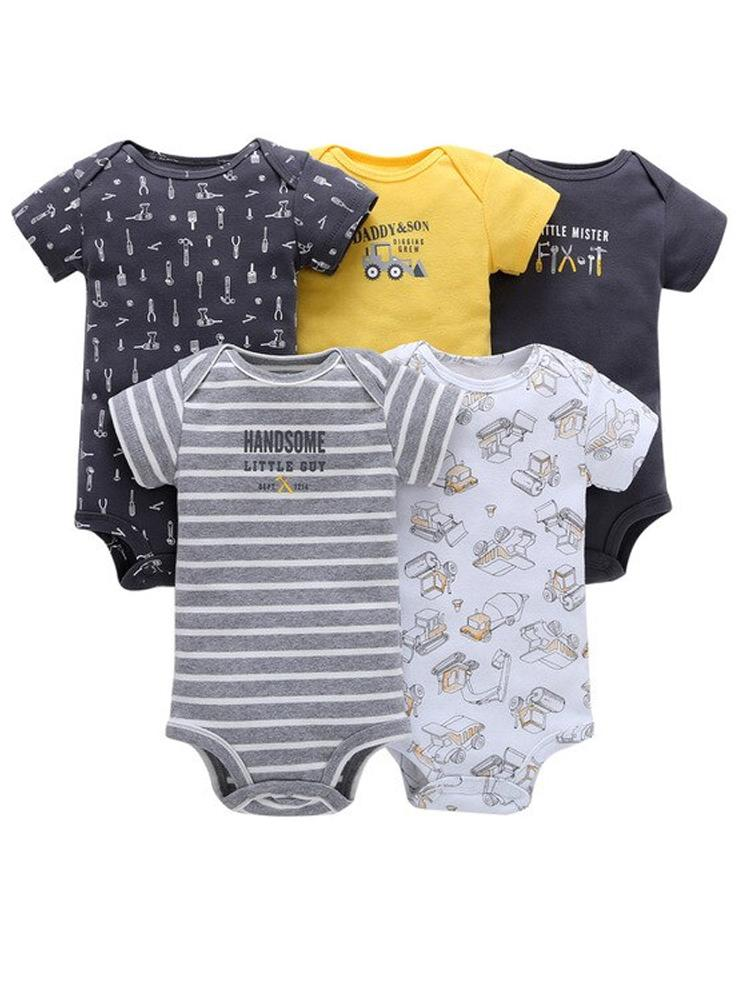 Boys 5 Sleepsuit Pack 100% Cotton - Tools - Stylemykid.com