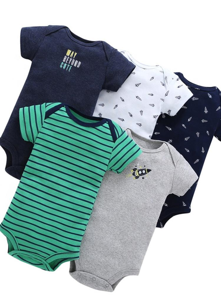Boys 5 Sleepsuit Pack 100% Cotton - Space Rocket - Stylemykid.com