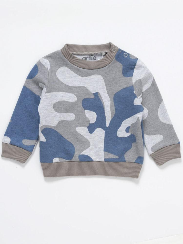 Artie - Boys Camouflage Jumper in Blue & Grey - Stylemykid.com