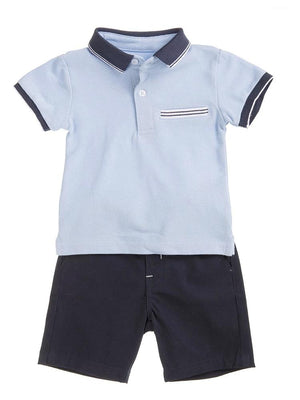 Babybol - Boys Blue Polo Shirt and Shorts Outfit - Stylemykid.com