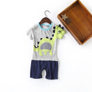Spikey Dino Romper - Grey and Blue with Bright Dinosaur 3D Applique - Stylemykid.com