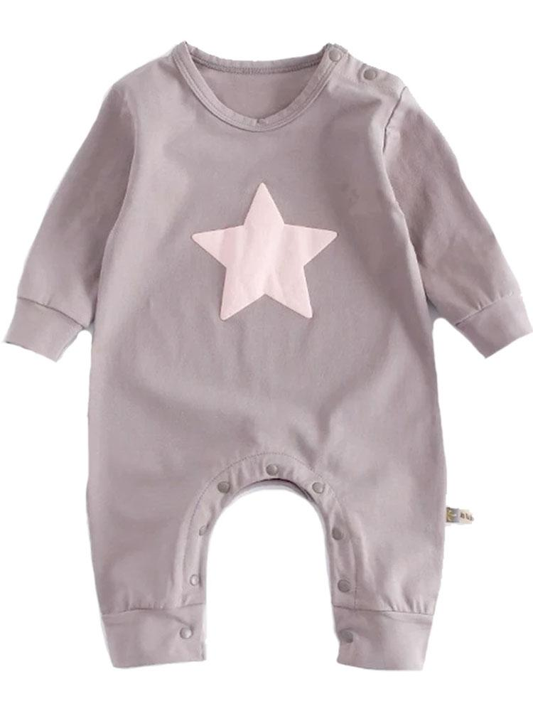 Bright Star - Taupe Baby Onesie with Pink Star Design - Stylemykid.com