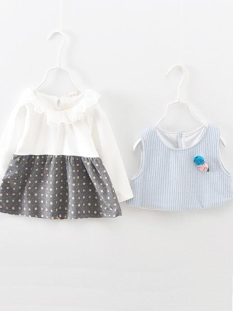 Broderie Anglaise Blue and Grey Girls Dress Set (6/12 & 12/18 months) - Stylemykid.com
