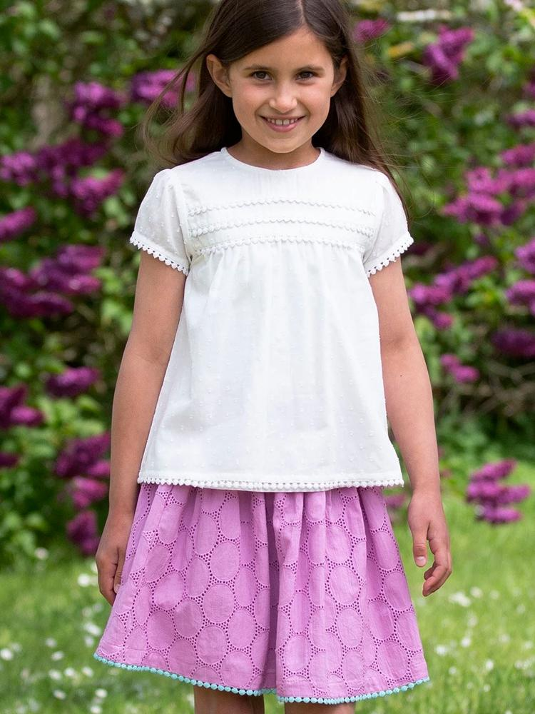 KITE Pink Girls Broderie skirt - Stylemykid.com