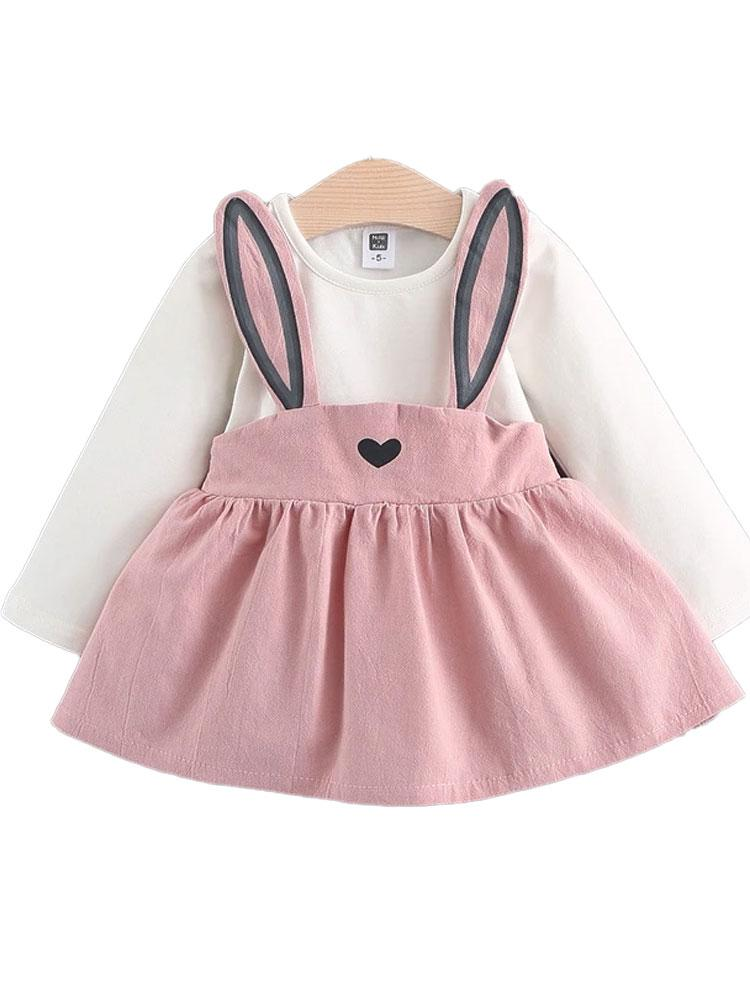 Bunny Applique Girls Dress - Pink and White with Bunny Ears - Stylemykid.com