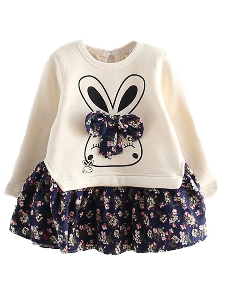 Bunny Bow Long Sleeve Top and Flared Flower Skirt - Cream & Dark Blue Girls - 2 Piece Outfit - Stylemykid.com