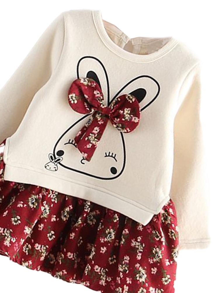 Bunny Bow Long Sleeve Top and Flared Flower Skirt - Cream & Dark Red - Girls 2 Piece Outfit - Stylemykid.com