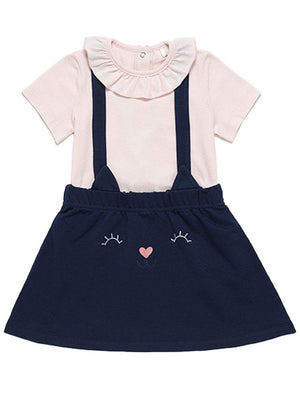Artie - Girls Pink Top and Dark Blue Bunny Skirt Outfit - Stylemykid.com