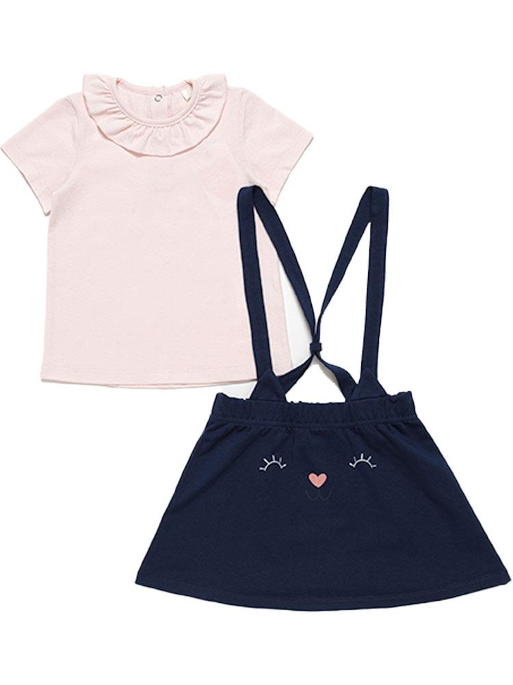 Artie - Girls Pink Top and Dark Blue Bunny Pinafore Skirt - 2 Piece Outfit - Stylemykid.com