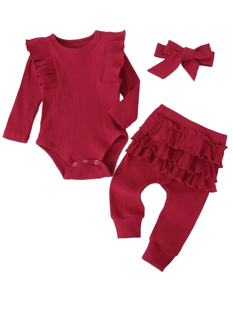 Burgundy Baby Girl 3 Piece Ruffle & Ribbed Bodysuit, Leggings & Headband Outfit - Stylemykid.com