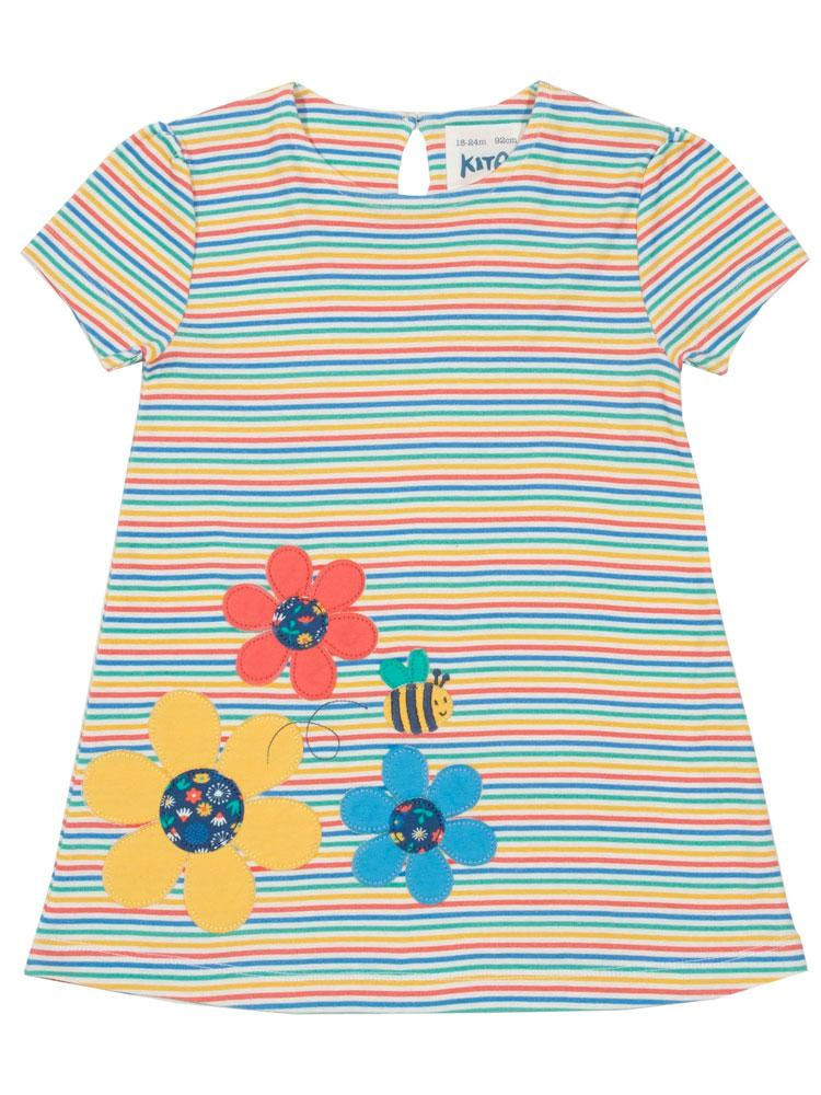 KITE Organic - Busy Bee Multicoloured Striped Dress from 3 months - Stylemykid.com