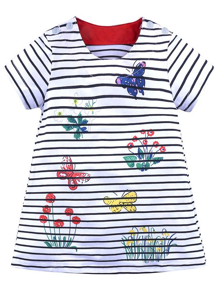 Colourful Butterflies White Striped Short Sleeved Dress - Stylemykid.com