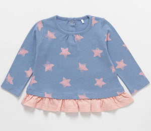 Artie - Super Star Jumper - Baby Long Sleeve Pink & Blue Top with Frill Hem 6-12 months - Stylemykid.com