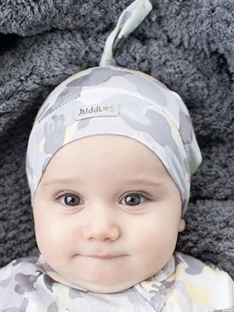 Juddlies - Camoose Bamboo Knotted Hat - Grey/Yellow - 0-4 months - Stylemykid.com