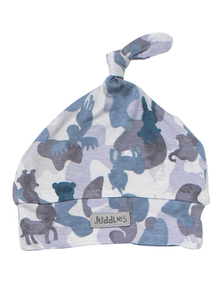 Juddlies - Camoose Bamboo Knotted Hat - Blue/Grey - 0-4 months - Stylemykid.com