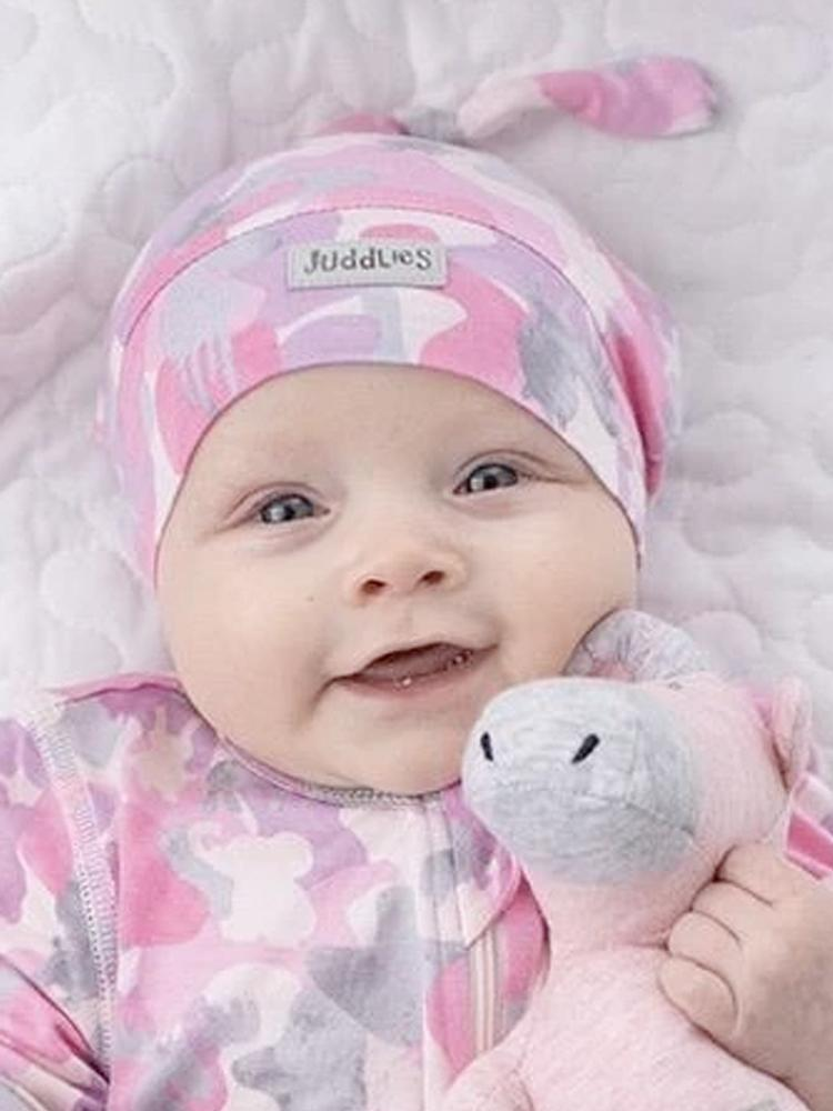 Juddlies - Camoose Bamboo Knotted Hat - Pink/Grey - 0-4 months - Stylemykid.com